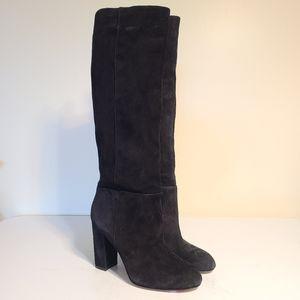 Sam Edelman black suede heeled boots sz 8.5 [N1L]